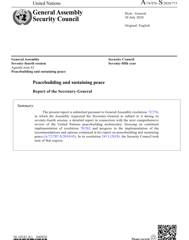 2020 Report of the Secretary-General on Peacebuilding and Sustaining Peace