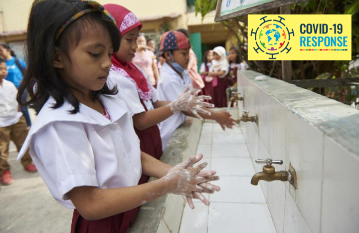 Children washing hands